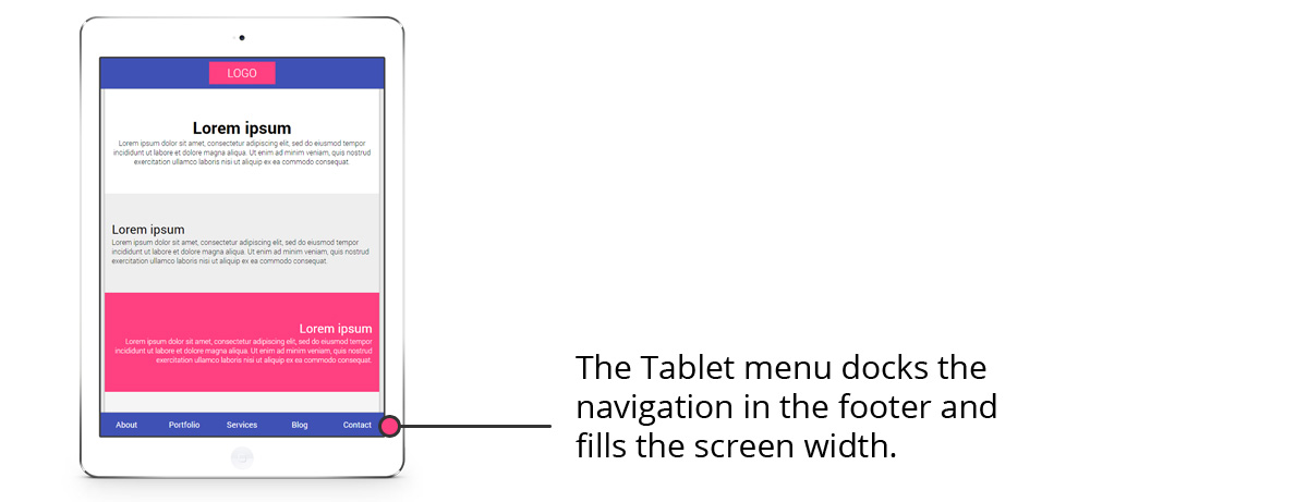 New Menu on Tablet